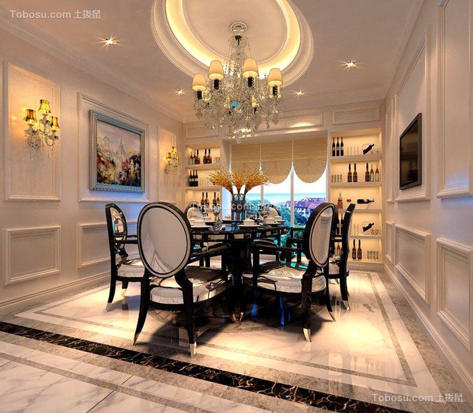 餐厅白色灯具法式风格装修设计图片