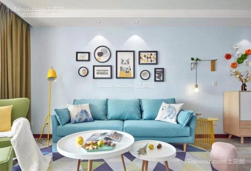 客厅蓝色沙发北欧风格装修图片