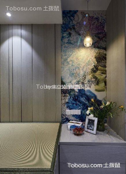 卧室灰色背景墙美式风格装潢图片