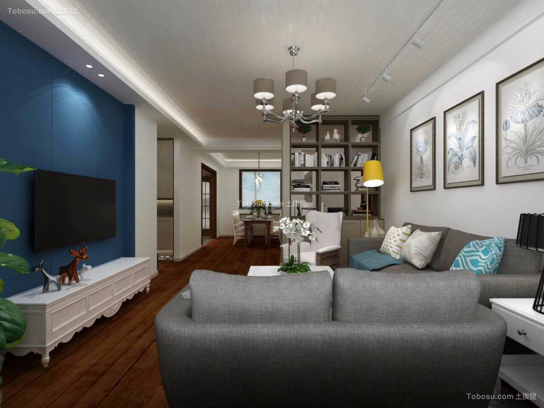 客厅蓝色沙发混搭风格装饰设计图片