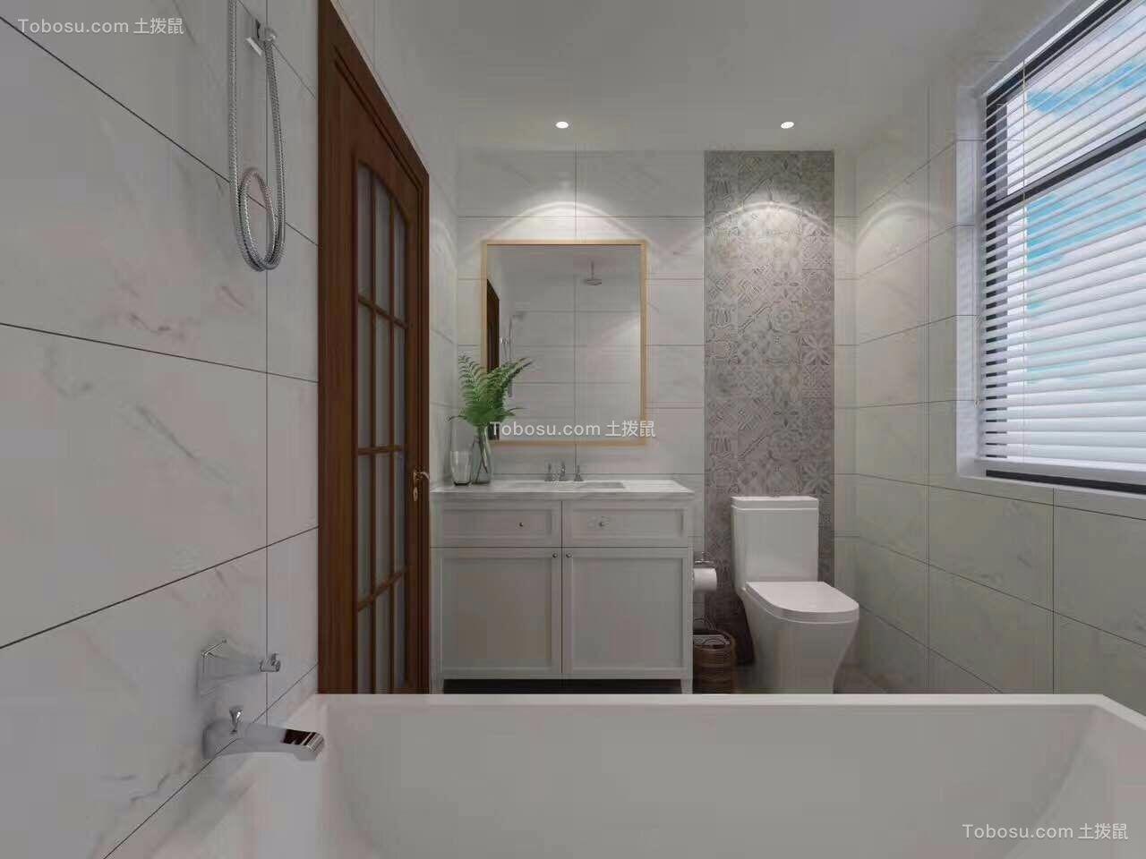 卫生间白色洗漱台混搭风格装潢设计图片