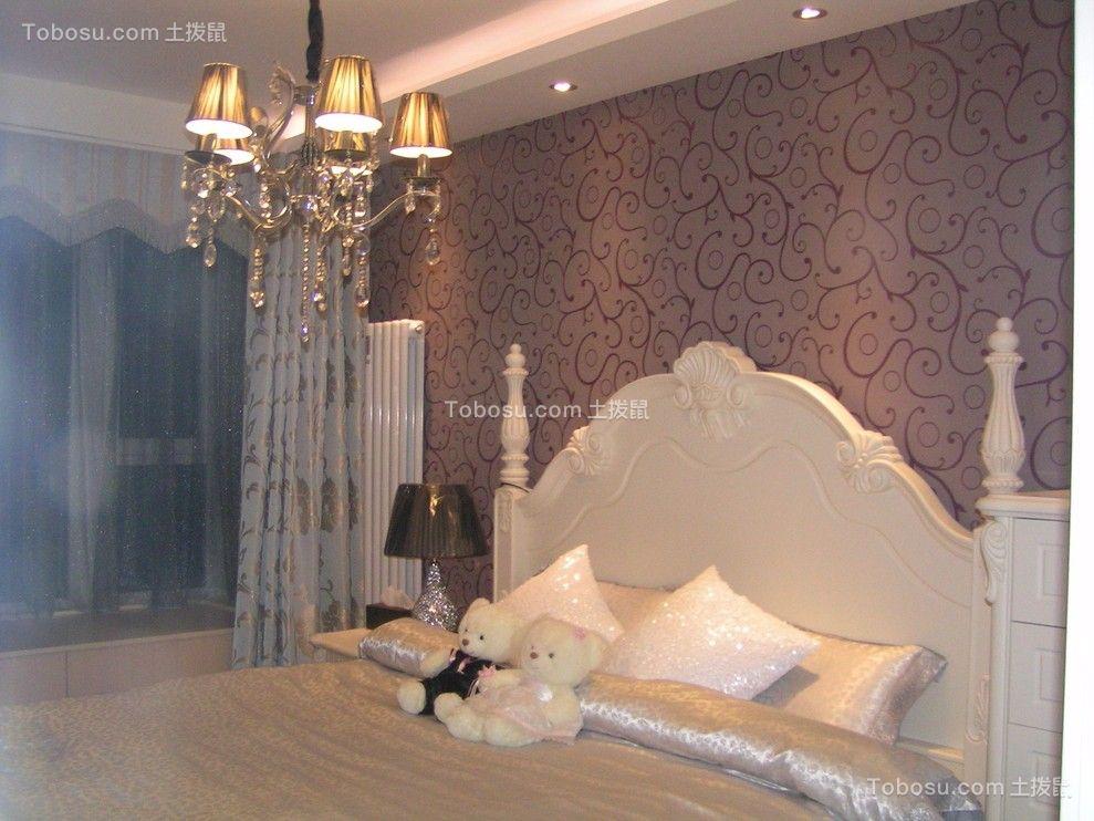 卧室白色床欧式风格装修设计图片