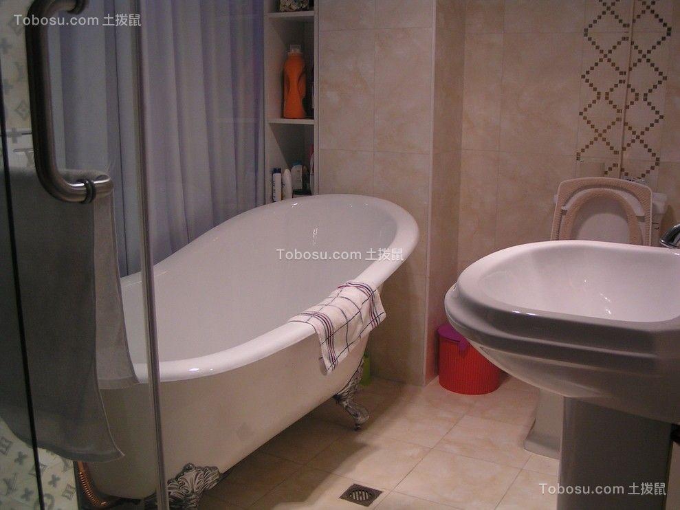 卫生间白色地板砖欧式风格装饰设计图片