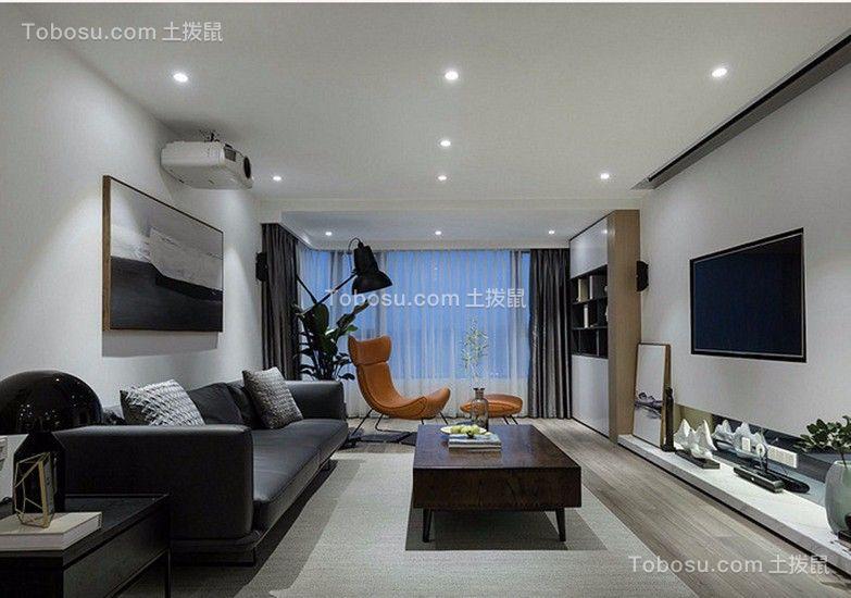 客厅黑色沙发简约风格装饰图片