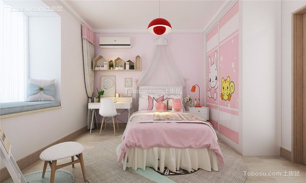 卧室粉色床欧式风格装潢效果图