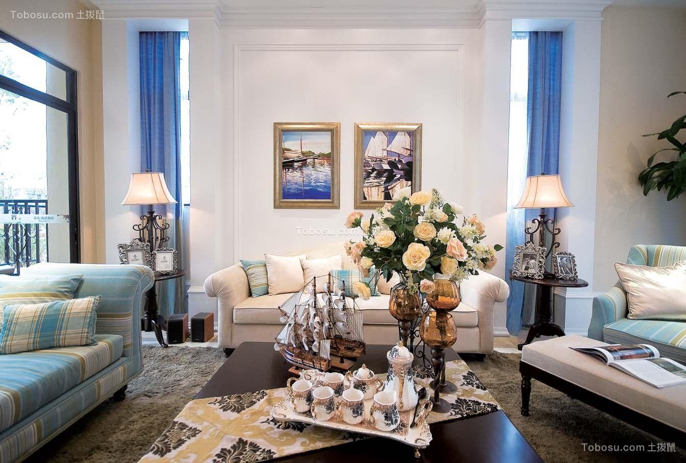 客厅蓝色沙发美式风格装修设计图片