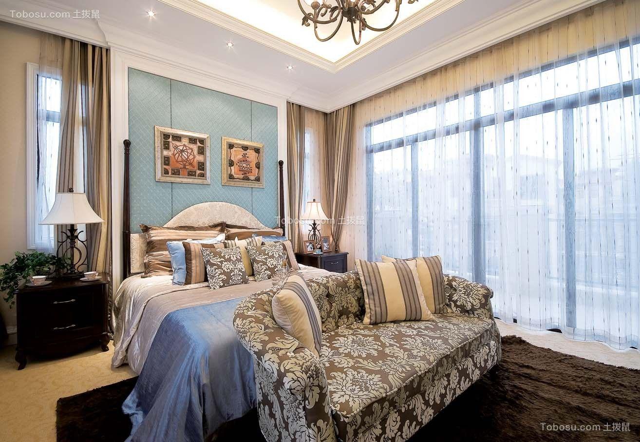 卧室蓝色背景墙美式风格装饰效果图