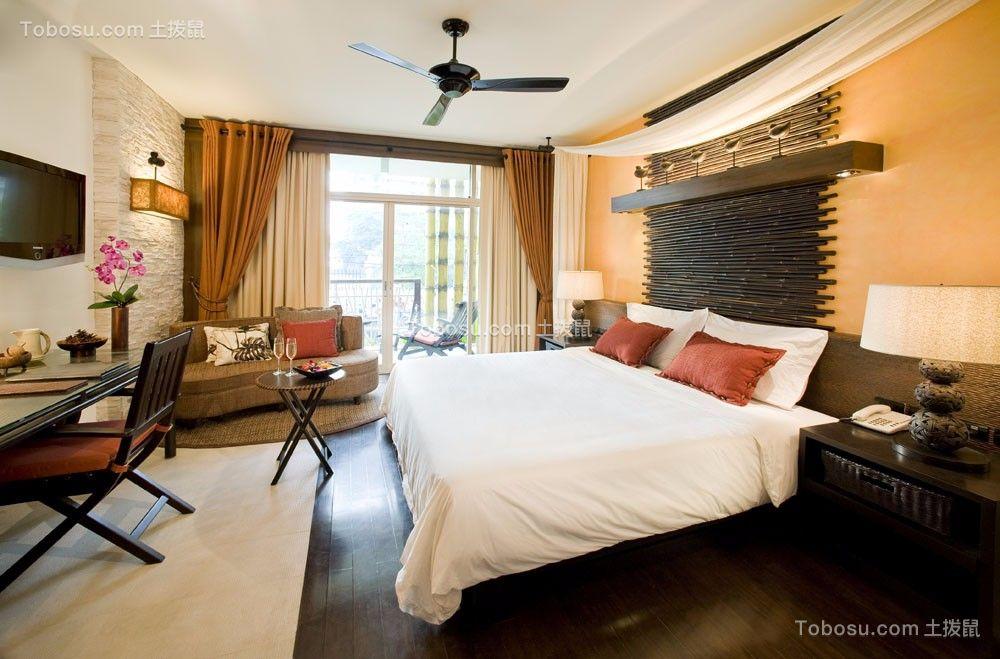 卧室黄色窗帘中式古典风格装饰效果图