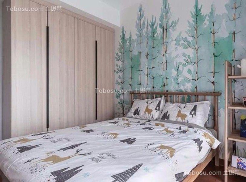 卧室绿色背景墙现代简约风格装潢图片
