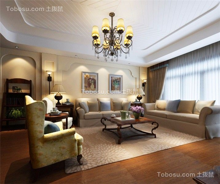 田园风格135平米四室两厅新房装修效果图