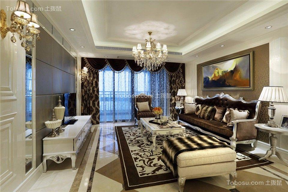 客厅米色吊顶欧式风格效果图