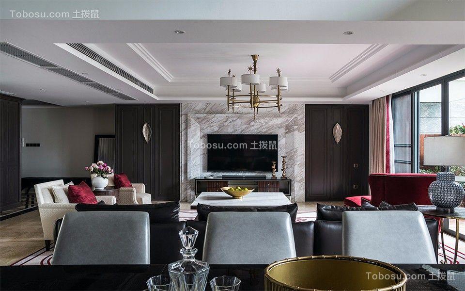 客厅灰色背景墙现代简约风格装潢效果图