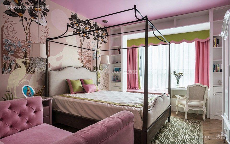 卧室粉色床现代简约风格装潢图片