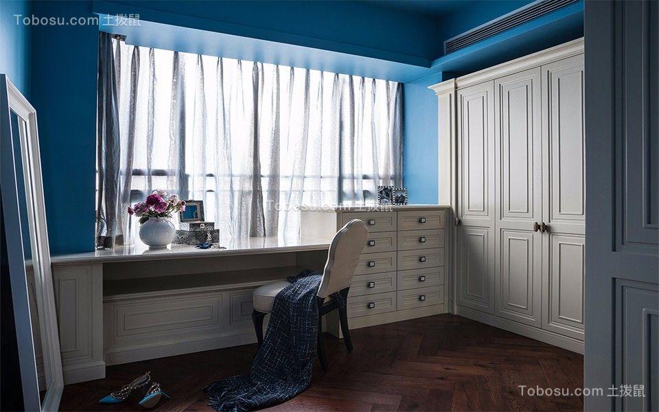 卧室白色书桌现代简约风格装修设计图片