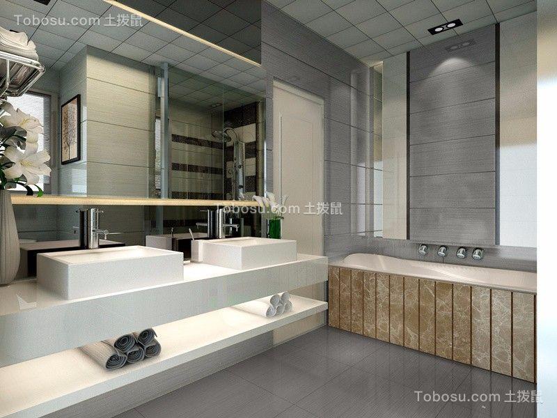 卫生间灰色地板砖现代风格装饰效果图