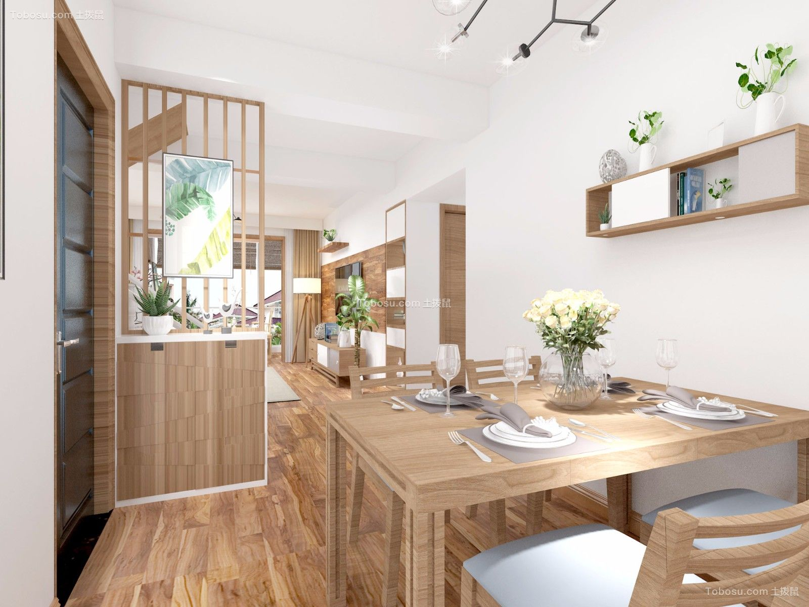 餐厅白色餐桌美式风格效果图