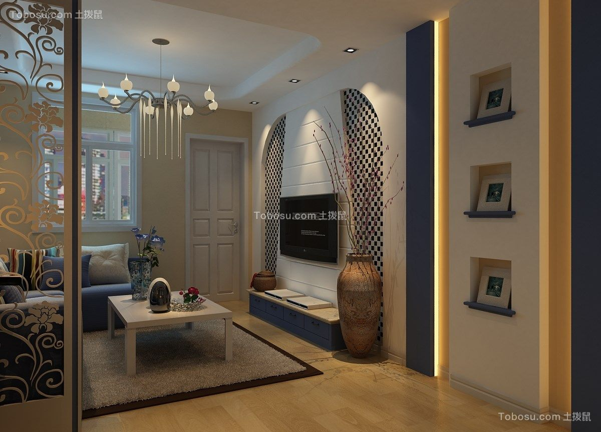 客厅白色背景墙地中海风格装潢设计图片