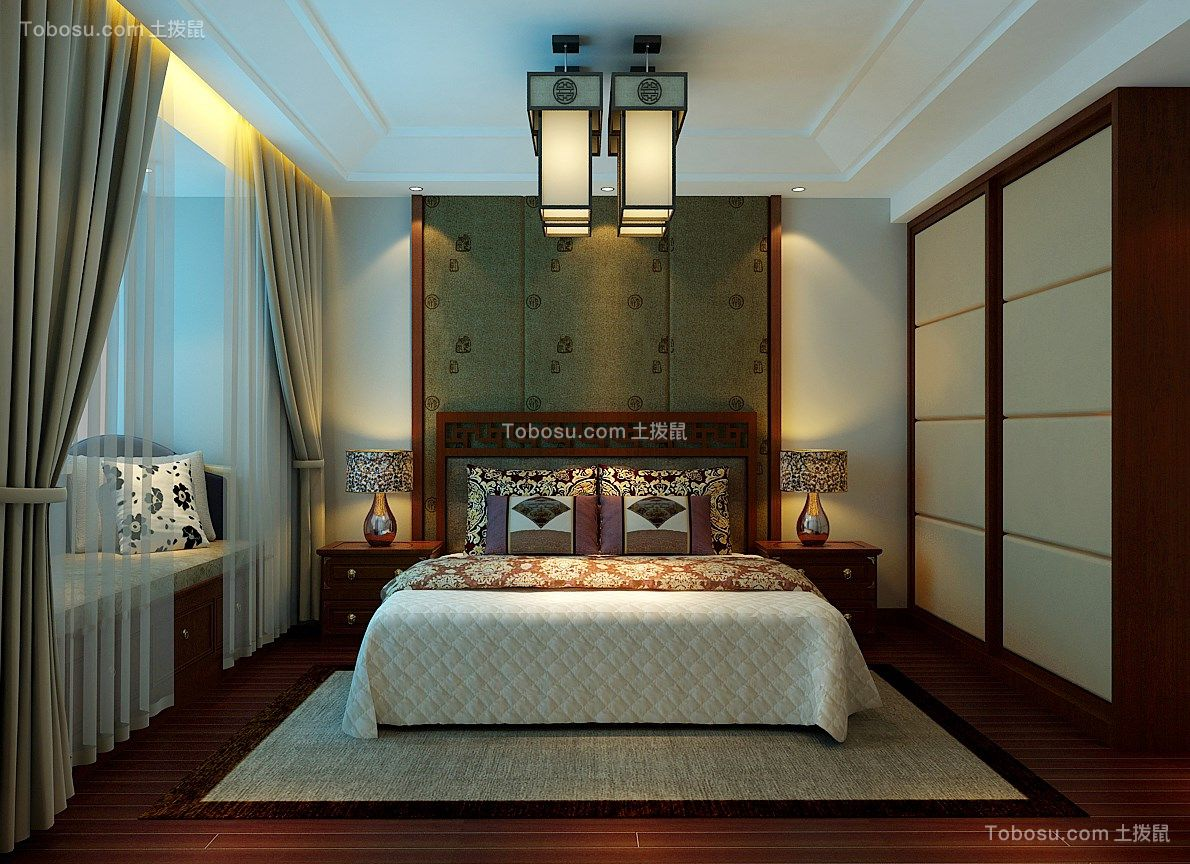 卧室米色细节新中式风格装潢图片