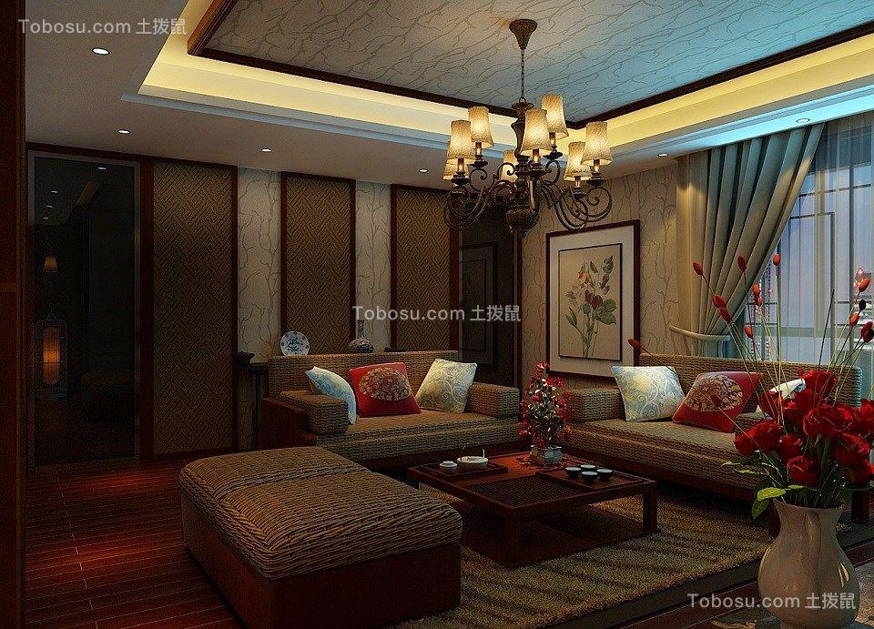 120平米新中式风格两居室装修效果图