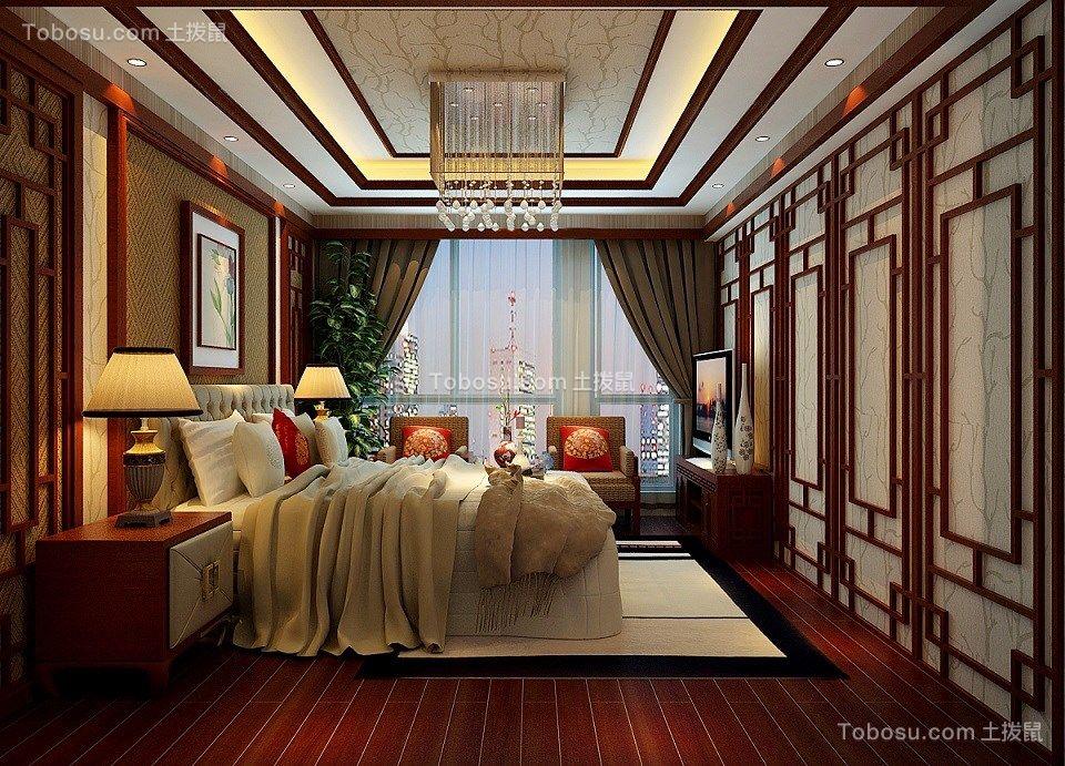 卧室红色细节新中式风格装修效果图