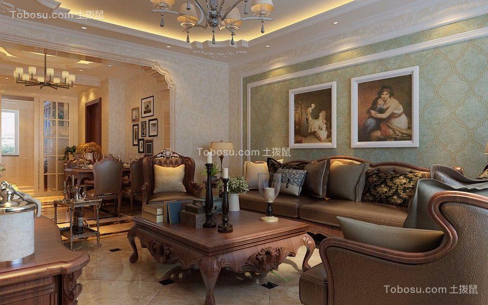 客厅绿色背景墙美式风格装饰图片