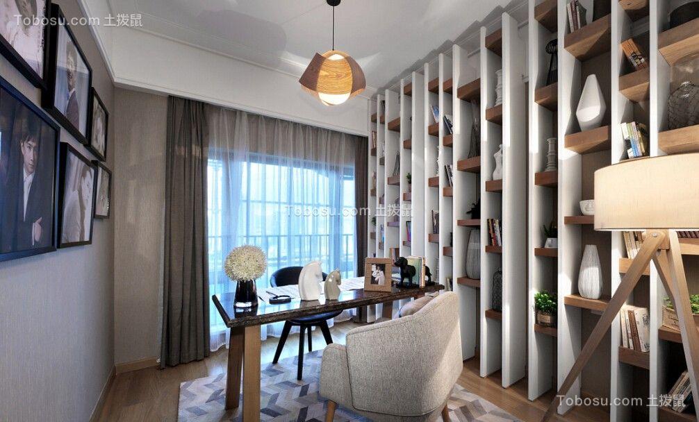 书房彩色书桌现代简约风格装潢效果图