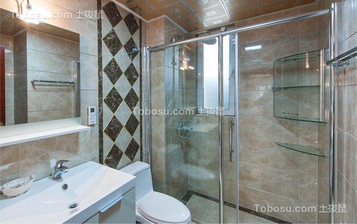 卫生间白色洗漱台美式风格装饰设计图片