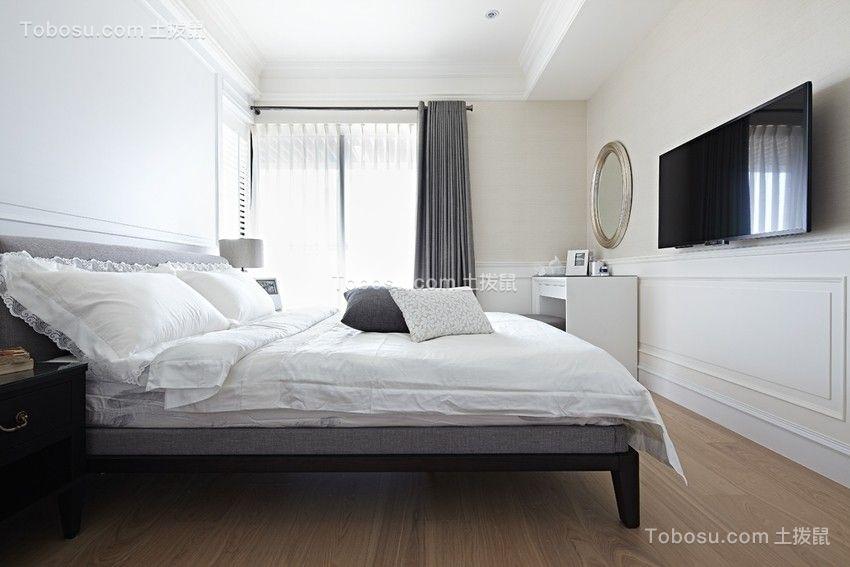 卧室白色窗帘简约风格装潢效果图