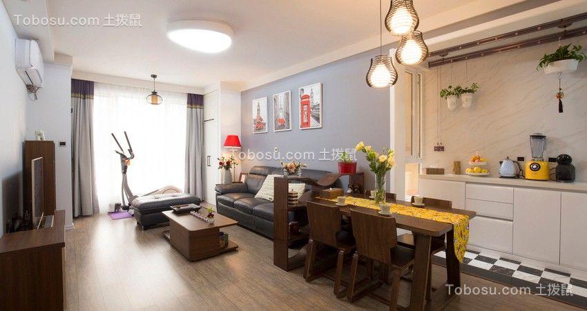 客厅黑色沙发混搭风格装饰设计图片