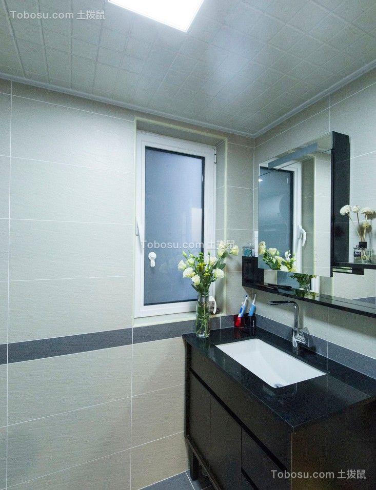 卫生间黑色洗漱台混搭风格装潢图片