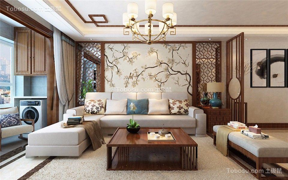 客厅白色背景墙中式风格装修设计图片