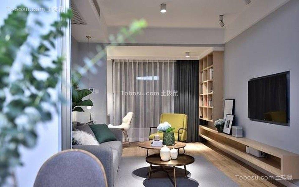客厅白色吊顶北欧风格装潢设计图片