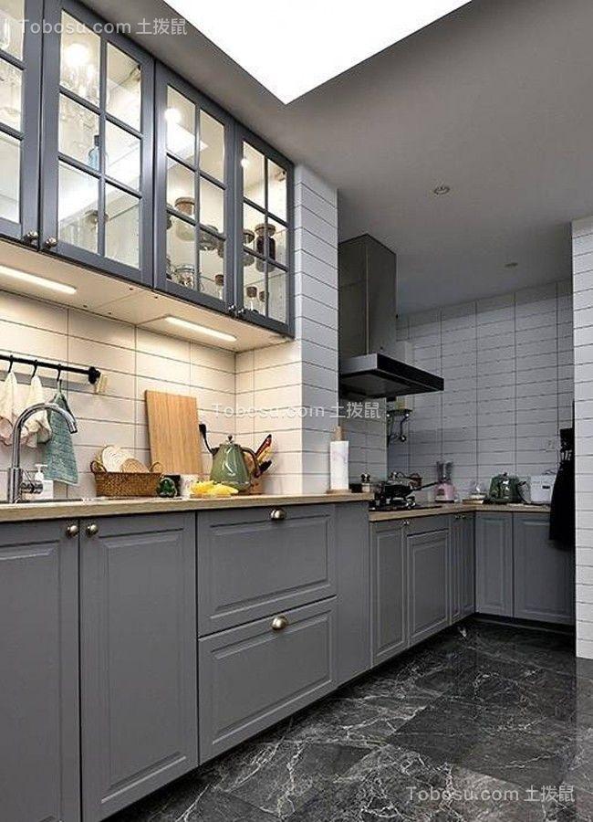 厨房灰色橱柜北欧风格装修效果图