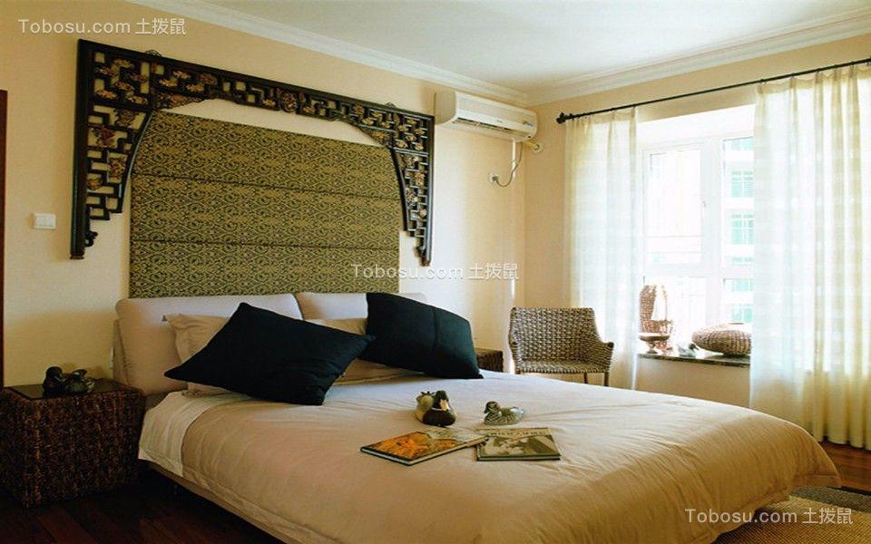 卧室黑色背景墙田园风格装饰设计图片