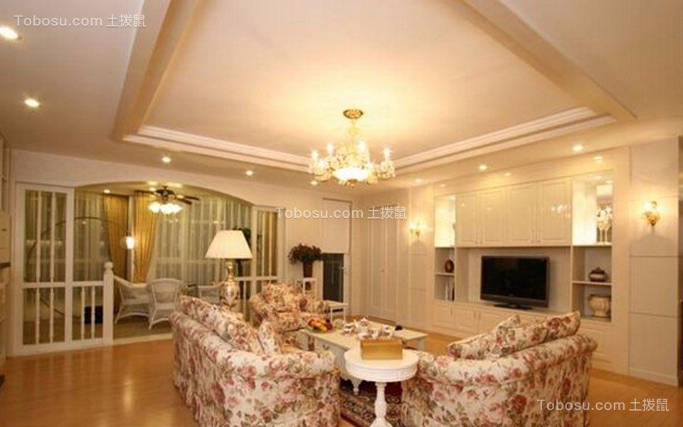 田园风格122平米三室两厅新房装修效果图