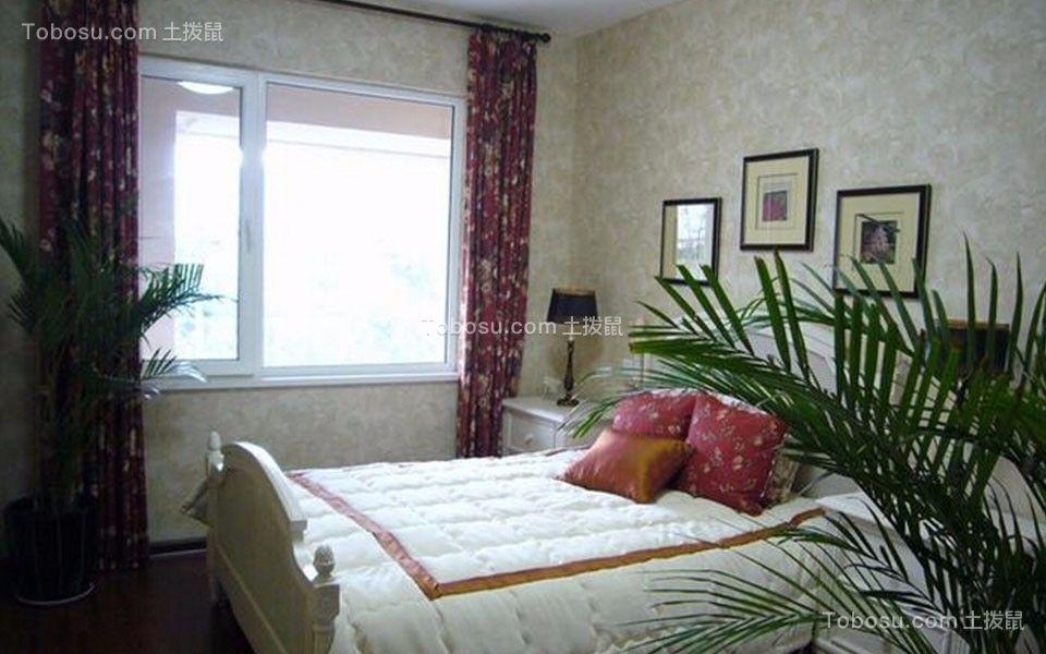 卧室米色窗帘田园风格效果图