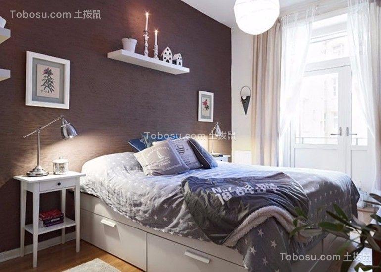 卧室灰色床简单风格装修设计图片