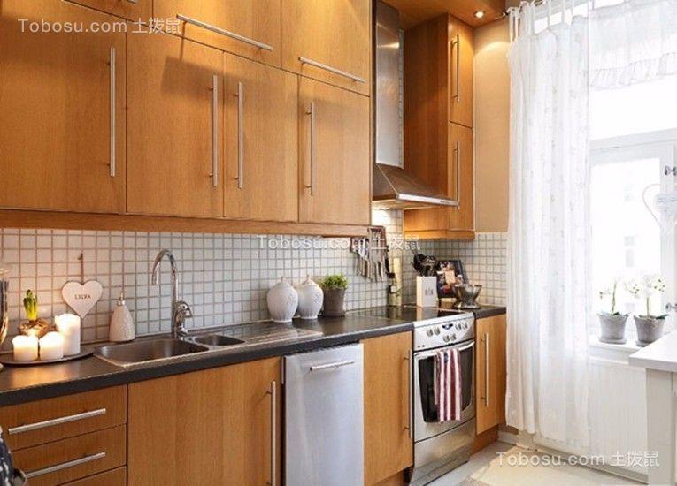 厨房咖啡色厨房岛台简单风格装饰设计图片