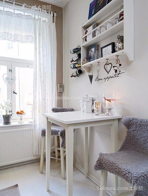 餐厅白色餐桌简单风格装潢设计图片
