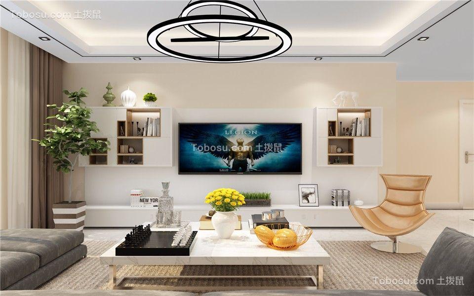 客厅彩色电视柜简约风格装潢设计图片