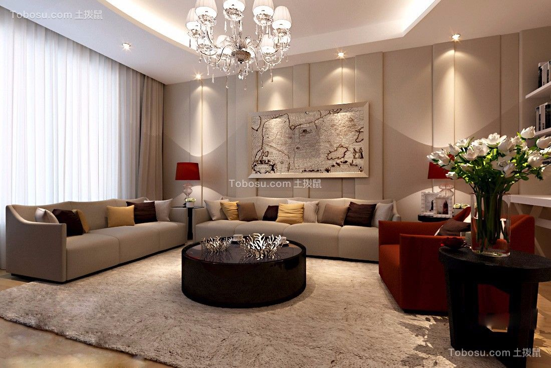 客厅灰色沙发现代简约风格装修效果图