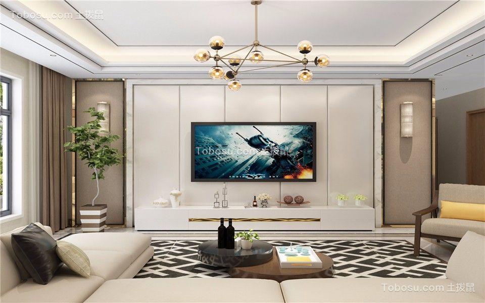 客厅彩色电视柜简约风格装修设计图片