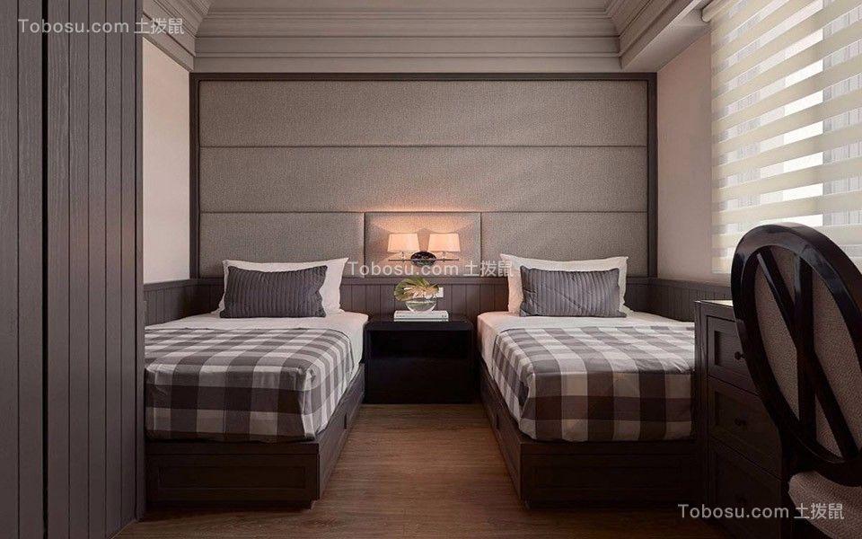 卧室灰色背景墙新古典风格装饰效果图
