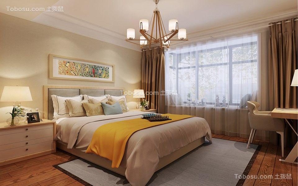 卧室米色床北欧风格装饰图片