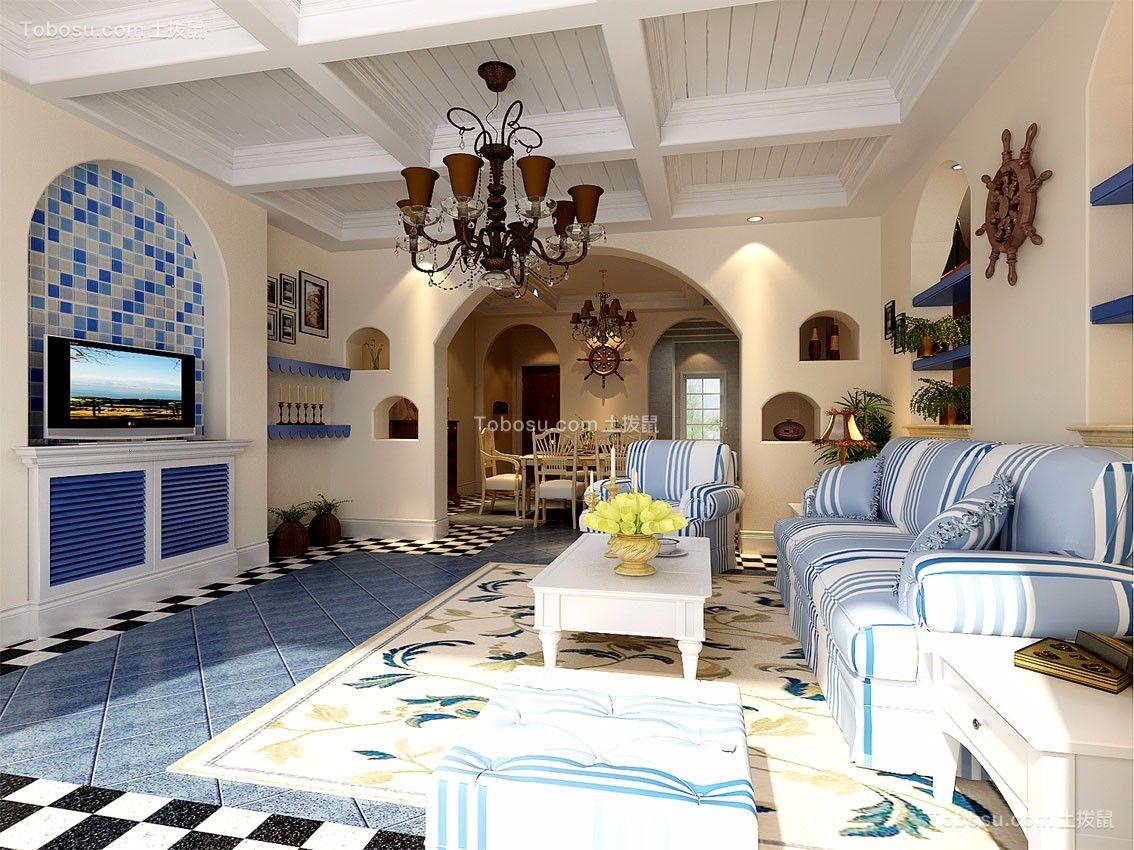 客厅白色茶几地中海风格装潢图片