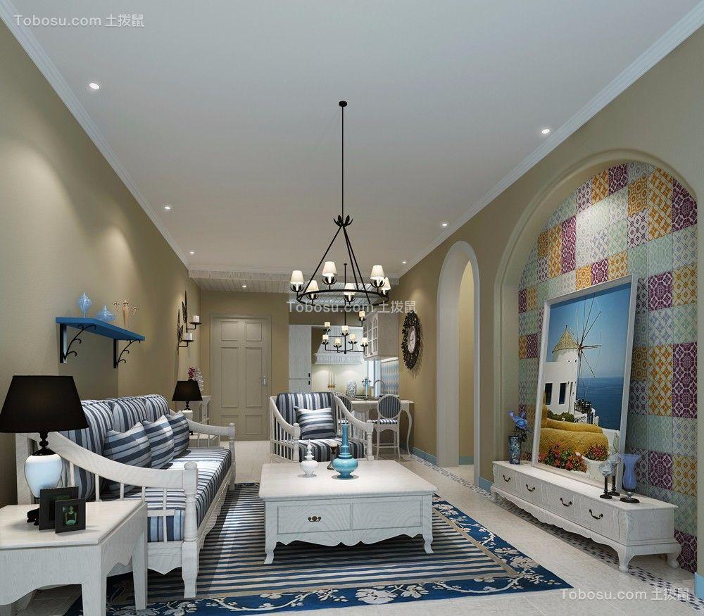 客厅白色电视柜地中海风格装修设计图片