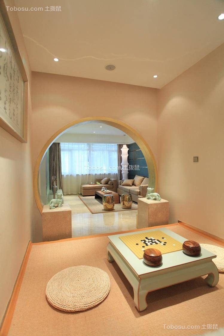客厅白色地板砖中式风格装饰效果图