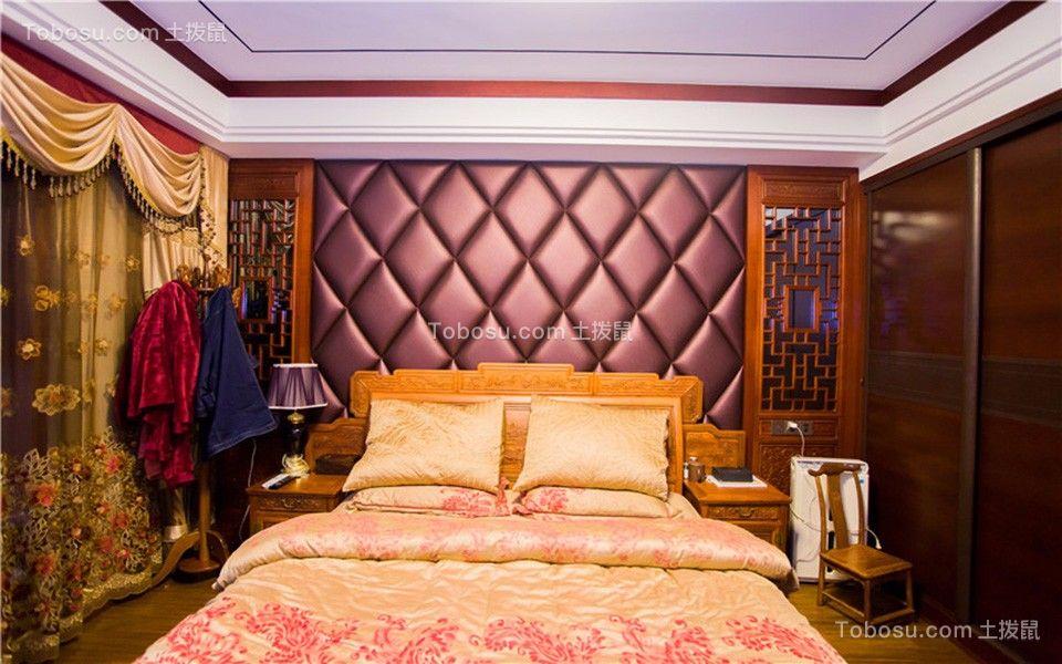 卧室黄色窗帘中式古典风格装潢图片