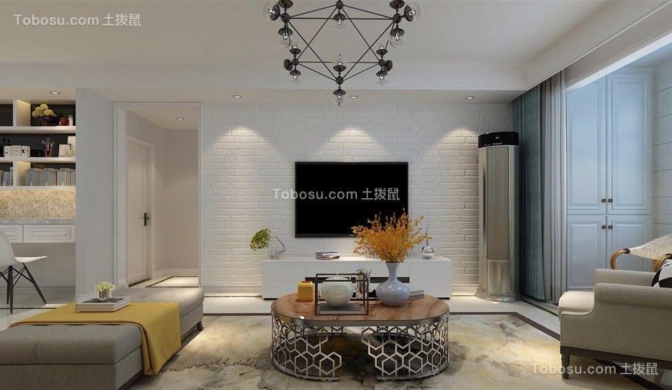客厅彩色电视柜北欧风格装饰效果图
