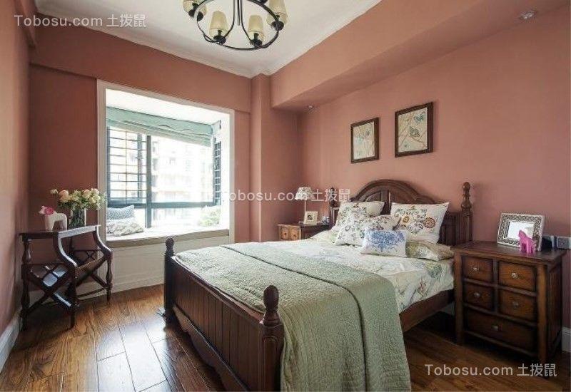 卧室红色照片墙混搭风格装修图片